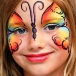gökkuşağı kelebek yüz boyama